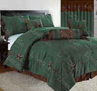 Rustic Turquoise Embroidery Texas Star Western Luxury Comforter Suede - 7 Piece