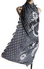 WHITE/BLACK traditional Indonesian print beach wrap scarf sarong/pareo swimwear