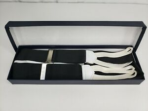 Brooks Brothers Suspenders Braces Black White NWOT Boxed