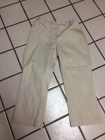 New Additions Maternity Beige Stretch Cotton Cropped Capri Casual Pants Sz S