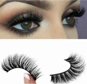 100% Luxury 3D Mink Eyelashes Lasting Lashes UK Long Layered Wispy Fluffy - UK