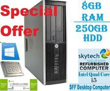 HP Elite 8200 SFF Intel Core i5 8GB RAM 250GB HDD Windows 10 Desktop PC WiFi