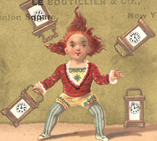 NYC LE BOUTILLIER & CO  3 UNION SQ. TRADE CARD, MARBLE CLOCKS A SPECIALTY TTC751