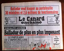 Le Canard Enchaîné 21/04/1993; Balladur veut Taxé 30 ministres et 2,6 de fonctio