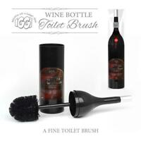 Red Wine Bottle Toilet Brush Novelty Loo lavatory Bog Bathroom Gift Black Holder