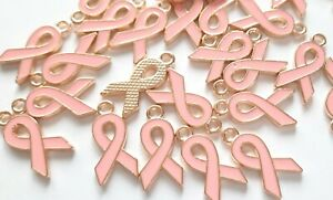 Light pink enamel Breast cancer awareness ribbon charms pendants pack of 8