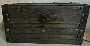 "New Dark Grey Brown STORAGE BOX RUSTIC CHEST Storage Box With Lock H6""xL12""xW7"""