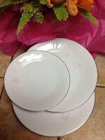 Vintage Noritake Ireland 3368 ROWAN 3 pink peony ripple plates bread and dessert