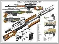 "Poster 24""x36"" Russian Dragunov Sniper Rifle SVD Manual Exploded Parts Diagram"