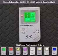 Nintendo Game Boy DMG-01 IPS LCD V3 screen 8 Color Backlight - WHITE on WHITE