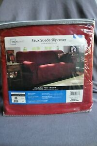 Faux Suede Slipcover, Mainstays Sofa cover, Dark Red (Red Sedona) Burgandy