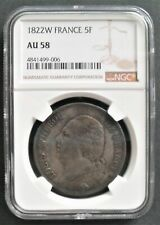1822 W  France 5 F, NGC AU 58 , nice silver coin, attractive toning   #806-16-7