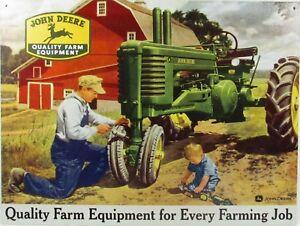 Farm John Deere Tractor Retro Vintage Nostalgic Reproduction Metal Tin Sign 9x12