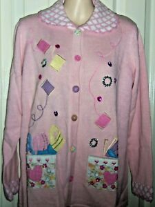 "NWT~Storybook Knits XS ~""I Love Sewing""~ Soft Pink Sewing, Crafting theme ~Rare"