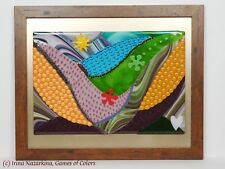 "A decorative fused glass art object ""Lovely Valley""; framed artwork"