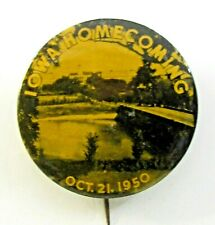 "1950 UNIVERSITY OF IOWA HOMECOMING  football 1.75"" pinback button ^"