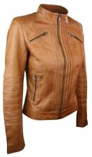 NOORA New Women Ladies Biker Brown Genuine Real Leather Jacket BS-200