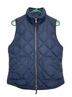 J Crew Womens S Navy Puffer Quilted Vest Full Zip Style 92465 Down Feather A12