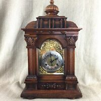 Antique Victorian Bracket Clock Oak Cased Ornate Working Order Chiming