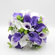 Artificial Wedding Flower Brides Posy Bouquet Purple White Real Touch Calla Lily