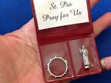 Rare St Padre Pio Icon and Rosary Ring Pocket Folder Statue Saint Pio Healing