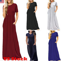 Women Short Sleeve Loose Plain Long Maxi Casual Dress Pockets Design Dresses USA
