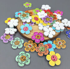 DIY 50PCS Wooden Flowers Sewing Buttons Scrapbooking Decorations 2-Holes 20mm