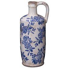 """13"""" Antique Style Blue White Ceramic Vase W/ Handle Floral Pattern Farmhouse"""