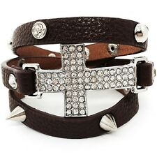 Brown Leather Cross Wrap Around Bracelet Clear Crystal Rhinestone Studs Spike