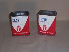 Lot of 2 Vintage Frank's Dove Advertising Spice 1/2 oz. Tins Thyme Sage Ohio Usa