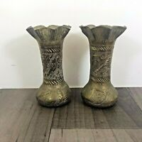 AUTHENTIC ANTIQUE BRASS PAIR OF SMALL VASES TRENCH ART LOVELY DESIGN