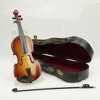 Alte Miniature Geige mit Koffer Violine Bogen Musik Instrument Sammlerstück