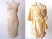 MONTI  Dress and Coat NWT rrp $695 Lace Sheath Gold Belted Wrap  Size 14 US 10