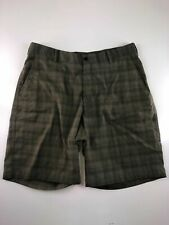 Nike Golf FitDry Green Plaid Polyester Blend Men's Shorts Size 36. 36x10""