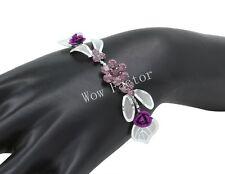 Purple Rose Diamante Rhinestone Crystals Silver Plated Bridal  Bracelet - Boxed