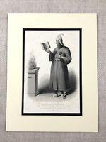 1854 Antik Gravierung Aufdruck Zoroastrian Worship Persien Guebres High Priest