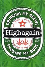 HIGH AGAIN - WEED & BEER POSTER - 24x36 PARODY POT MARIJUANA SMOKING 44818