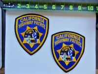 2 = California Highway Patrol CHP Eureka Yellow Star Police Patches Set Used