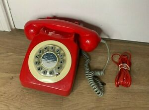 Vintage Style Red Wild & Wolf 746 Push Button Dial Telephone- Old Style Ringer