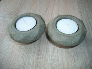 Concrete tea lights holders . 2 diamond style holders 72mm x 38mm high.