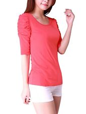 Allegra K Women Scoop Neck Ruched Sleeve Top Slim Fit T Shirts Size M