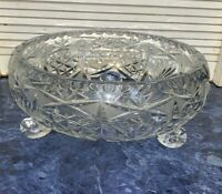 "Crystal Glass Bowl Lead Cut 3 Legs Star Burst Diamond Cut Vintage 30"" Wide"