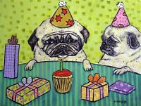 PUG birthday painting poster dog art print picture 8x10