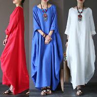 Retro New Women Cotton Linen Loose Casual Long Maxi Dress Kaftan Long Shirts
