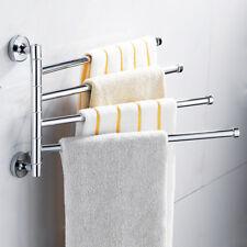 Stainless Steel Towel Bar Rack Holder Wall Hanger Swivel 4 Swivel Arm Chrome