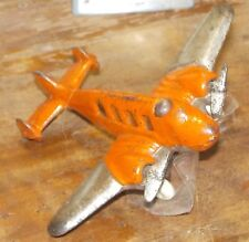 Cast Iron, Nickel Wing, Two Motor, Tri Tail  Vtg Hubley Airplane Toy #2304 12