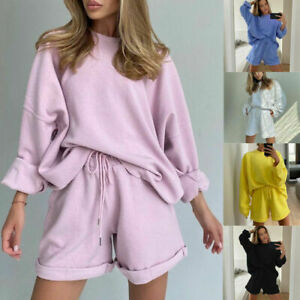 Womens Casual Oversized.Baggy Hoodies Top Shorts Two Piece Co ord Set Loungewear
