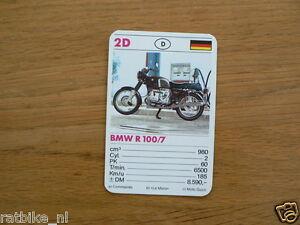 10-MOTOREN 2D BMW R100/7 BOXER KWARTET KAART MOTORCYCLES, QUARTETT,SPIELKARTE