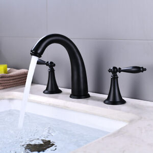Black Oil Rubbed Bronze Widespread 3 Holes Bathroom Basin Faucet Sink  Mixer Tap