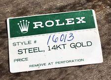 Rolex Verde Tag Adesivo 16013 vintage anni 1980 data-solo Datejust acciaio 14 KT ORO
